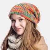 Unisexe laine mélangée arc-en-ciel rayures motif Plus velours épais chaud Couple chapeau bonnet tricoté bonnet