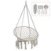 Cotton Hammock Chair Comfort Beige Swing Hang Seat Indoor Outdoor Garden Travel Max Load 120kg