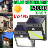1/2/4Pcs 150 LED Outdoor Solar Powered Light PIR Motion Sensor Garden Security Wall Lamp