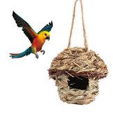 Casadepájarosdepajapara Loro Hámster Jaula de pequeños animales Aves que se reproducen Casa de pájaros Casa Decoraciones colgantes