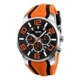 SKMEI 9128 Chronograph Sport Silicone Strap  Men Watch