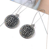 Boucles d'oreilles Vintage Ear Drop Antique Silver Round Geometric