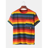 Mens Multicolor Stripe Chest Pocket Casual Short Sleeve T-Shirts
