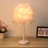 Escritorio de mesita de noche con luz de sombra de plumas moderno Lámpara Dormitorio DIY Decoración de regalo para el hogar sin bombilla
