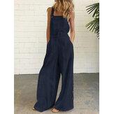 Női pamut egyszínű ujjatlan Vintage alkalmi széles lábú jumpsuit oldalzsebekkel