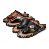 S-420502  The First Layer Of Leather Handmake Men's Sandals Slippers Summer Personality Beach Shoe