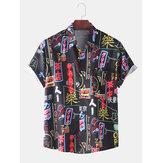 Erkek Komik Colorful Graffiti Baskı Kısa Kollu Casual T-Shirt