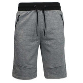 Mens Casual Elastic Waist Zippered Pocket Shorts
