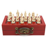 32 Pcs Terra Cotta Warriors Figure Chess Set with Chinese Wood Leather Box Board Games