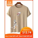 Astronaut Shooting Cartoon Print Crew Neck Short Sleeve T-Shirts