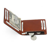 Men RFID Genuine Leather Money Clip Zipper Pocket Wallet