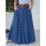 Женская однотонная нижняя передняя свободная повседневная длинная юбка с карманом
