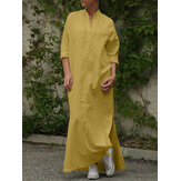 Women Cotton Side Split Hem V-Neck Long Sleeve Casual Dresses