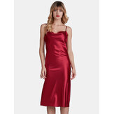 Spaghetti Tali Adjustable Backless Satin Glossy Nightgown