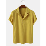 Mens Solid Color Cotton Light Chest Pocket Short Sleeve Henley Shirts