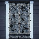 CadılarbayramıLEDLambaUpSiyah Dantel Pencere Perdeleri Kapı Korkunç Bez Parti Süslemeleri