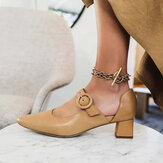 Women Elegant Pointed Toe Solid Color Ankle Buckle Strap Slip On Chunky Heel Pumps