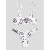 Kadınlar Için Basit Bitki Baskı Hollow Yüzük Backless Mayo Tanga Bikini Yüzme
