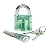 5pcs Unlocking Lock Pick Set +  Transparent Practice Padlock 5-Color Optional
