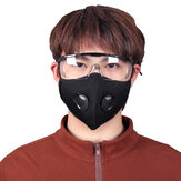 BIKIGHT Dustproof Cycling Face Mask + Goggles Breathable Activated Carbon Respirator Mask Set for Cycling Running