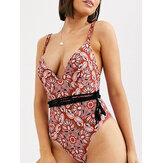 Wireless Flora Printed Deep Open Necklines Chic Swimwear