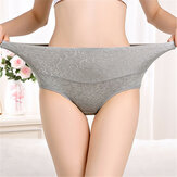 4XL Plus Ukuran Pinggang Tinggi Jacquard Cotton Panties