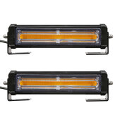 COB LED Car Front Grille Flashing Lights Emergency Warning Strobe Lamp Bars Amber with Remote