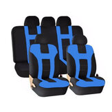 Universal Car Seat Covers Front Rear Protectors 9 Piece Set Washable Blue & Black