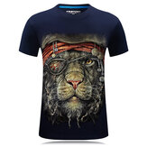 Plus Size S-4XL 3D One-eyed Animal Printed Short Tees Personality Mens Short Sleeved T-shirt