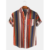 Mens Cotton Colorful Stripe Button Up Turn Down Collar Camisas de manga curta