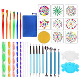 35 PCS Cerâmica Mandala Dotting Tool Set Rock Stone Dot Art Pintura Pintura Stencil Tools Kit