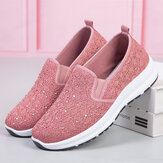 Women Casual Rhinestone Breathable Knitted Soft Flat Walking Sneakers