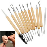 11Pcs Clay Sculpting Set Wax Carving Pottery Tools Shapers Polymer Modeling Wood Handle Set