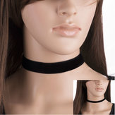 Vintage Gothic Black Velvet Plain Mulheres Collar Necklace Lady Jewelry