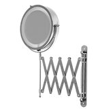 7 Inch Folding Telescopic Bathroom Makeup Mirrors With LED Wall Mounted 3x Magnifying