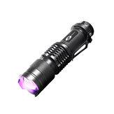 SHENYUSY1003AA/14500Linterna UV 395nm LED Púrpura Violeta Detección de Luz Fluorescente Multifunción Lámpara Para cámping Caza