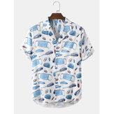 قناع وجه كرتوني للرجال مطبوع قميص بأكمام قصيرة نمط حياة صحي
