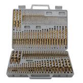 Drillpro 115pcs Titanium Plating Twist Drill Bit Set 1 / 16-1 / 2 Inch Round Shank Twist Drill For Quick Wood Metal Drilling