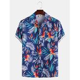 メンズハワイアンスタイルココリーフフラワープリント通気性半袖シャツ