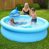 190x47CM Piscina gonfiabile per bambini Vasca da bagno per bambini Divertimento all'aria aperta Squalo con spruzzo d'acqua Piscina Giocattolo estivo per bambini