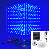 Lampu 3D Cube Kit 8x8x8 Biru LED Spektrum Musik MP3 Kit Elektronik DIY