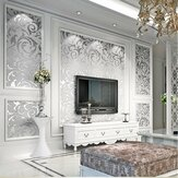 3D Sølv Victorian Wall Sticker Damask Embossed Rolls Wallpaper Feature Stue Baggrundsindretning
