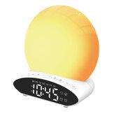 HD Time Projection LED Alarm Clock 7 Colors FM Radio Sleep Aid Snooze Mode Wake-up Clock Device U Disk Music Speaker
