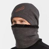 Unisex 2 uds Plus terciopelo grueso cálido bordado trigo Patrón Cuello y Oreja protección sombrero bufanda de punto Sombrero