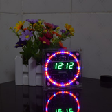 Geekcreit? Upgrade DIY EC1515B DS1302 Light Control Rotation LED Electronic Clock Kit Size 81x81x2mm