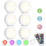 6PCS SOLMORE Wiederaufladbare LED Schrankleuchte USB RGB + weiße Garderobenlampe + Fernbedienung mit Timer-Funktion