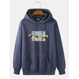 Mens Touch Hand Graphic Print 100% Cotton Solid Casual Pullover Hoodie