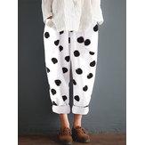 Kadın Pamuk Polka Dot Elastik Bel Cepler Pantolon