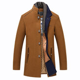 Vinter Casual Coat Scarf Avtagbar Stylish Woolen Overcoat
