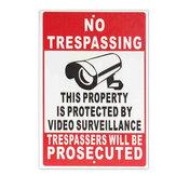 NO Trespassing Property Beschermd Door Video Surveillance Safty Camera Metaalbord Met Twee Gaten